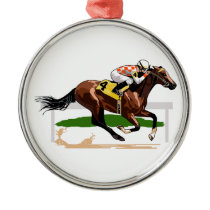 Horse Racing Scene Metal Ornament