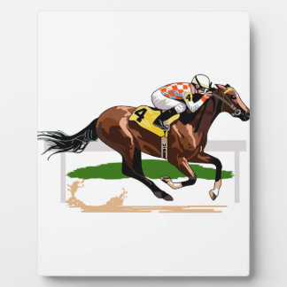 Horse Racing Scene Plaque