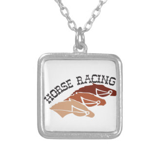 Horse Racing Square Pendant Necklace