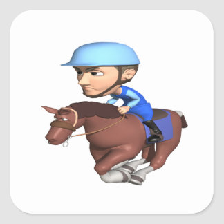 Horse Racing Square Sticker