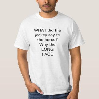 horse racing t-shirt telling a joke
