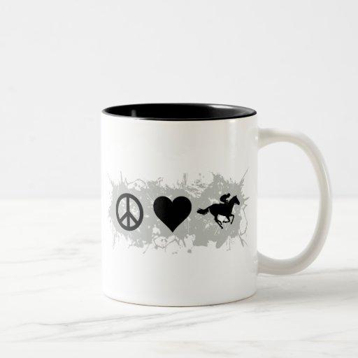Horse racing Two-Tone coffee mug