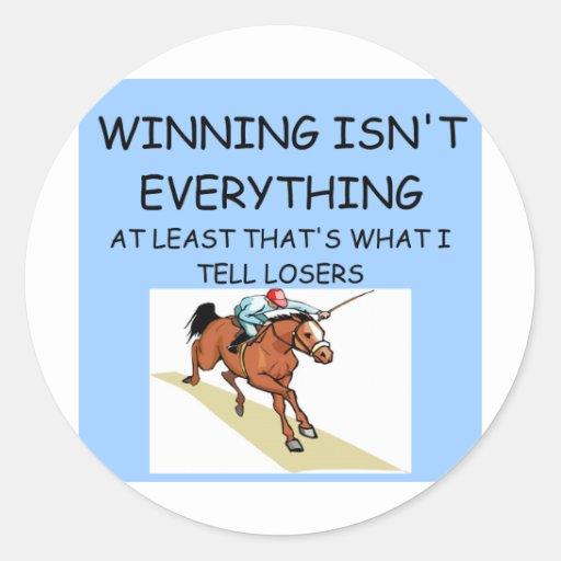 HORSE racing winner Classic Round Sticker
