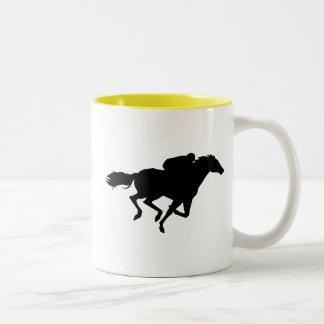 Horse Racing; yellow Two-Tone Coffee Mug