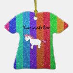 Horse rainbow glitter christmas ornament