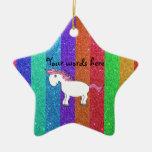 Horse rainbow glitter christmas ornaments