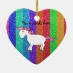 Horse rainbow glitter christmas tree ornaments