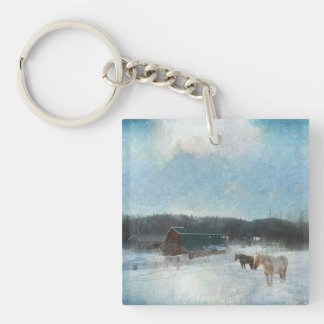 Horse Ranch, Barns and Snow Painting Keychain