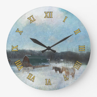 Horse Ranch, Barns and Snow Painting Large Clock