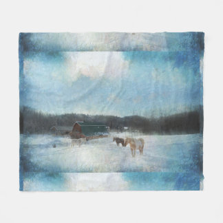 Horse Ranch, Barns and Snow Painting Fleece Blanket