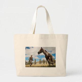 Horse Ranch Farm Destiny Nature Background Canvas Bags