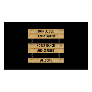 Horse Ranch Stables Cattle Farm Black Double-Sided Standard Business Cards (Pack Of 100)