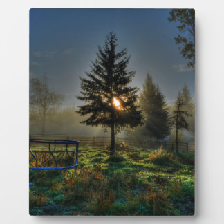 Horse Ranch Sunrise Nature Photo Display Plaque