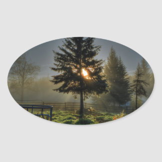 Horse Ranch Sunrise Nature Photo Oval Sticker