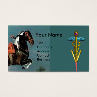 HORSE REARING AND GOLD CADUCEUS VETERINARY SYMBOL BUSINESS CARD
