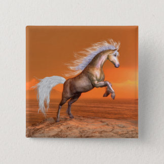 Horse rearing by sunset - 3D render Button