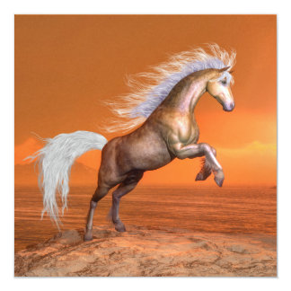 Horse rearing by sunset - 3D render Card
