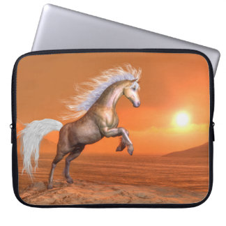 Horse rearing by sunset - 3D render Computer Sleeve