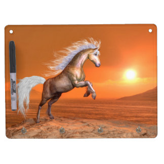 Horse rearing by sunset - 3D render Dry Erase Board With Keychain Holder