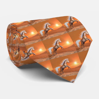 Horse rearing by sunset - 3D render Neck Tie