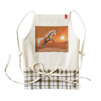 Horse rearing by sunset - 3D render Zazzle HEART Apron