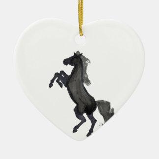 Horse Rearing Facing The Left Ceramic Ornament
