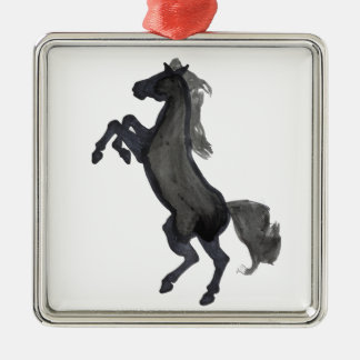 Horse Rearing Facing The Left Metal Ornament