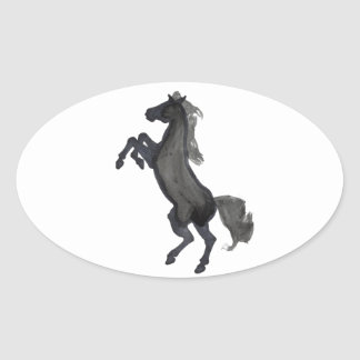 Horse Rearing Facing The Left Oval Sticker