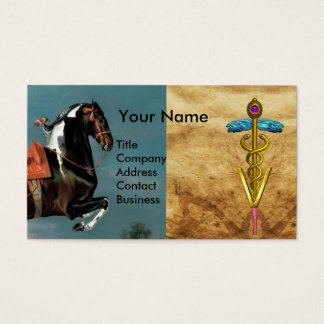 "HORSE REARING ""GOLD CADUCEUS VETERINARY SYMBOL BUSINESS CARD"