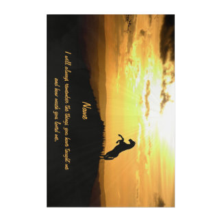 Horse Rearing in Sunset Silhouette Acrylic Wall Art