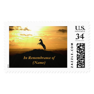 Horse Rearing in Sunset Silhouette Postage