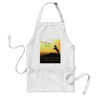 Horse Rearing Silhouette At Sunrise Adult Apron