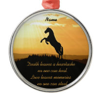 Horse Rearing Silhouette At Sunrise Metal Ornament