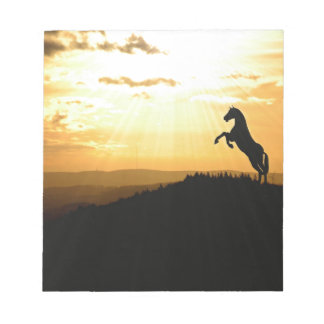 Horse Rearing Silhouette At Sunrise Notepad
