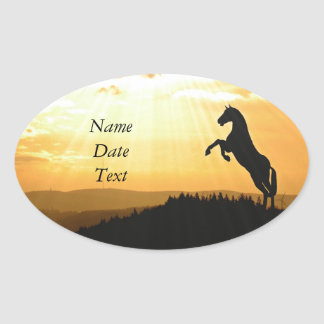 Horse Rearing Silhouette At Sunrise Oval Sticker