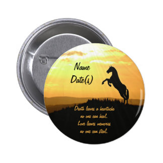 Horse Rearing Silhouette At Sunrise Pinback Button