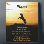 """Horse Rearing Silhouette At Sunrise Plaque<br><div class=""""desc"""">This gift,  for the loss of a horse,  features the silhouette of a horse rearing in the sunset. This is designed for you to customize it with the name of the horse. Keep the saying or put in your own.  For an Equine sympathy gift or a horse memory gift.</div>"""