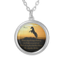 Horse Rearing Silhouette At Sunrise Silver Plated Necklace