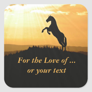Horse Rearing Silhouette At Sunrise Square Sticker