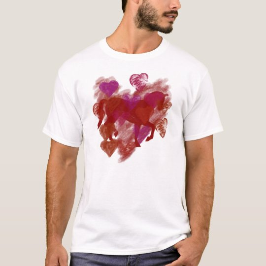Horse - Red Horse Outline With Hearts T-Shirt
