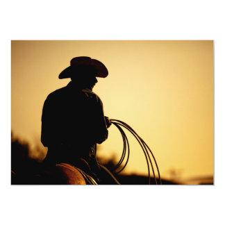 Horse Rider and Rope into the Sunset Card