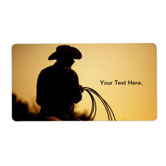 Horse Rider and Rope into the Sunset Label