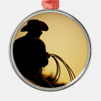 Horse Rider and Rope into the Sunset Metal Ornament