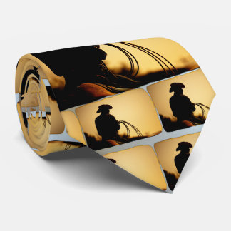 Horse Rider and Rope into the Sunset Neck Tie