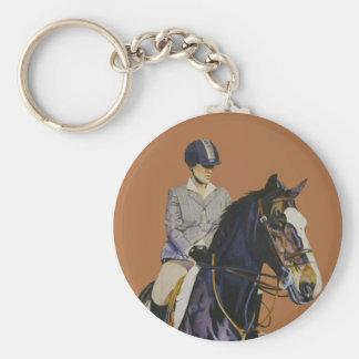 Horse & Rider at Horseshow Round Keychain
