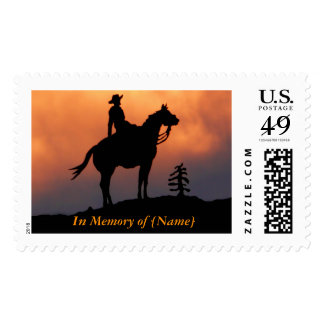 Horse & Rider at Sunset Silhouette Postage