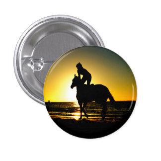 Horse rider beach beautiful scenery 1 inch round button