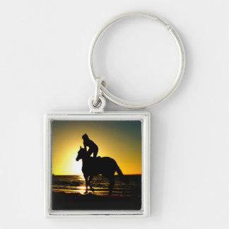Horse rider beach beautiful scenery keychain