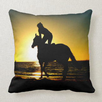 Horse rider beach beautiful scenery throw pillow