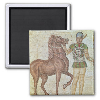 Horse rider in racing colours 2 inch square magnet